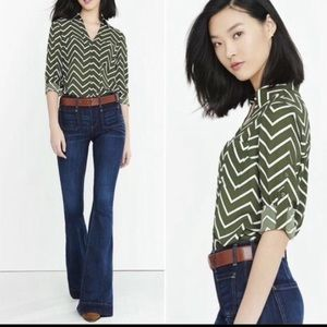 Express Button Up Blouse in Olive Green Chevron